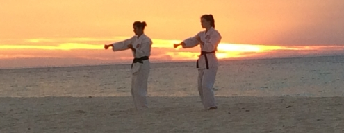 Beach training - Sanchin kata