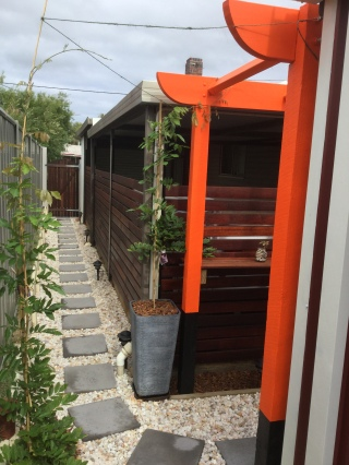 Entrance - Torii inspired pergola